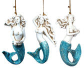Blue Tail Mermaid Ornament Set