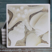 White Seashells Coaster