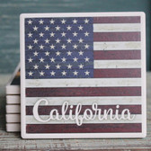 California - American Flag Coaster