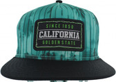 Teal California Sublimation Palm Flat Snapback Hat