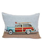 Woody with Surfboard Throw Pillow