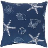 Navy Seashells Outdoor Throw Pillo