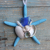 Dark Blue Sea Glass on a Blue Starfish Ornament