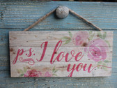 PS I Love You rope hanging sign