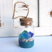 Sea Glass Beach Bottle Ornament with Turquoise Sand