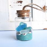 Sea Glass Beach Bottle Ornament with Aqua Sand