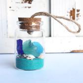 Sea Glass Beach Bottle Ornament with Ocean Blue Sand