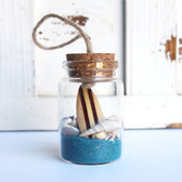 Brown Surfboard Beach Bottle Ornament with Turquoise Sand