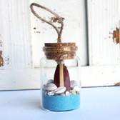 Brown Surfboard Beach Bottle Ornament with Light Blue Sand