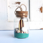 Brown Surfboard Beach Bottle Ornament with Aqua Sand