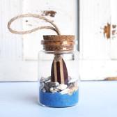 Brown Surfboard Beach Bottle Ornament with Cobalt Sand