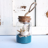 Starfish Beach Bottle Ornament with Turquoise Sand