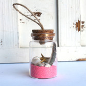 Starfish Beach Bottle Ornament with Pink Sand