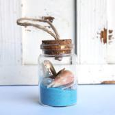 Starfish Beach Bottle Ornament with Light Blue Sand