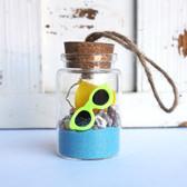 Beach Bucket Bottle Ornament with Light Blue Sand