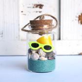 Beach Bucket Bottle Ornament with Aqua Sand