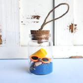 Beach Bucket Bottle Ornament with Cobalt Sand