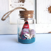 Color Surfboard Beach Bottle Ornament with Turquoise Sand