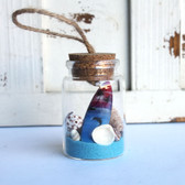 Color Surfboard Beach Bottle Ornament with Light Blue Sand