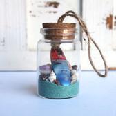 Color Surfboard Beach Bottle Ornament with Aqua Sand