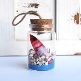 Color Surfboard Beach Bottle Ornament with Cobalt Blue Sand