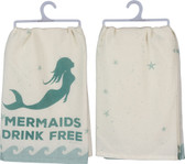 Mermaids Drink Free Cotton Dish Towel