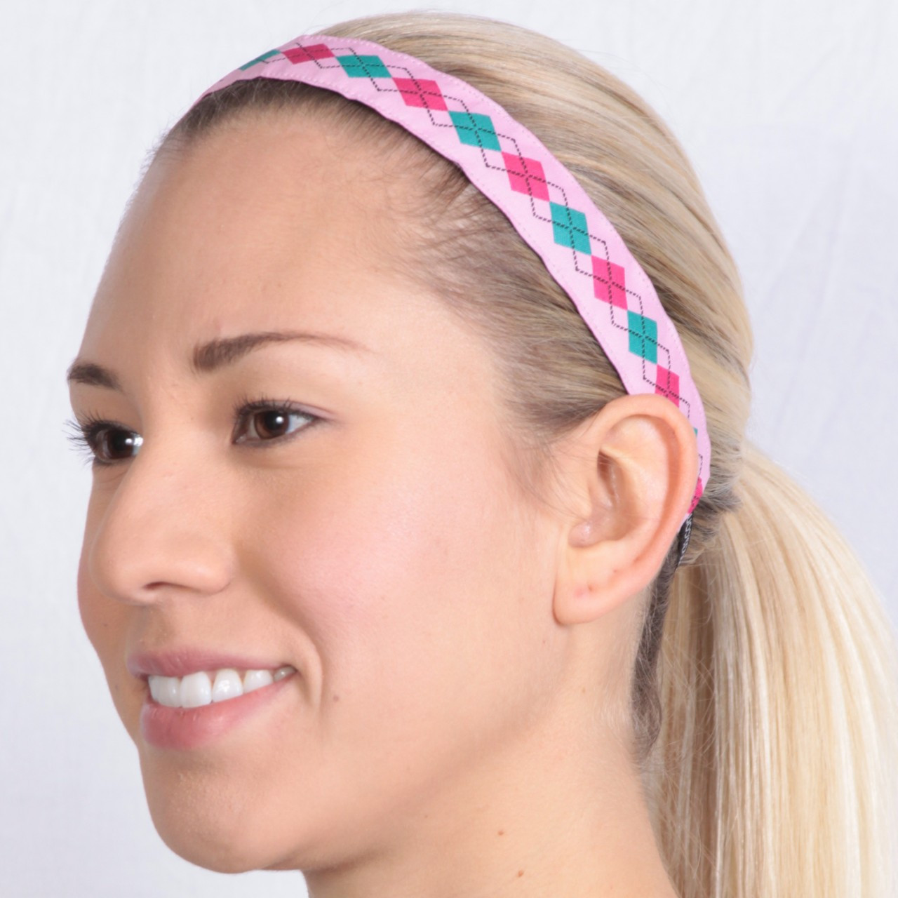 SALE Thin Preppy Girl Pink Argyle - BIC Bands Non-Slip Headbands 21df26d963df