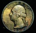 1932 WASHINGTON QUARTER GEM BU UNC TONED COIN