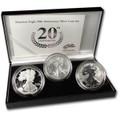 2006-W ( 3-Coin) Silver Eagle Set w/Box & CoA 20th Anniversary