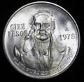 1978 100 CIEN PESO MEXICO .720 SILVER (ASW .6428 TROY OUNCES)
