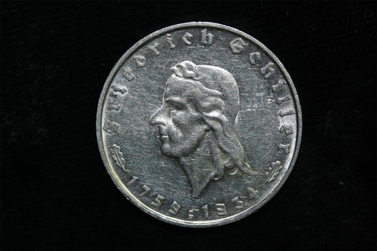 1934 F THIRD REICH SCHILLER 3 MARK GERMAN COIN ALMOST UNC+ #G1121