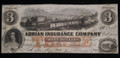 $3 OBSOLETE BROKEN BANK NOTE PAPER MONEY (ADRIAN INSURANCE COMPANY) #N057