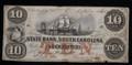 $10 OBSOLETE BROKEN BANK NOTE PAPER MONEY (STATE BANK SOUTH CAROLINA) #N059