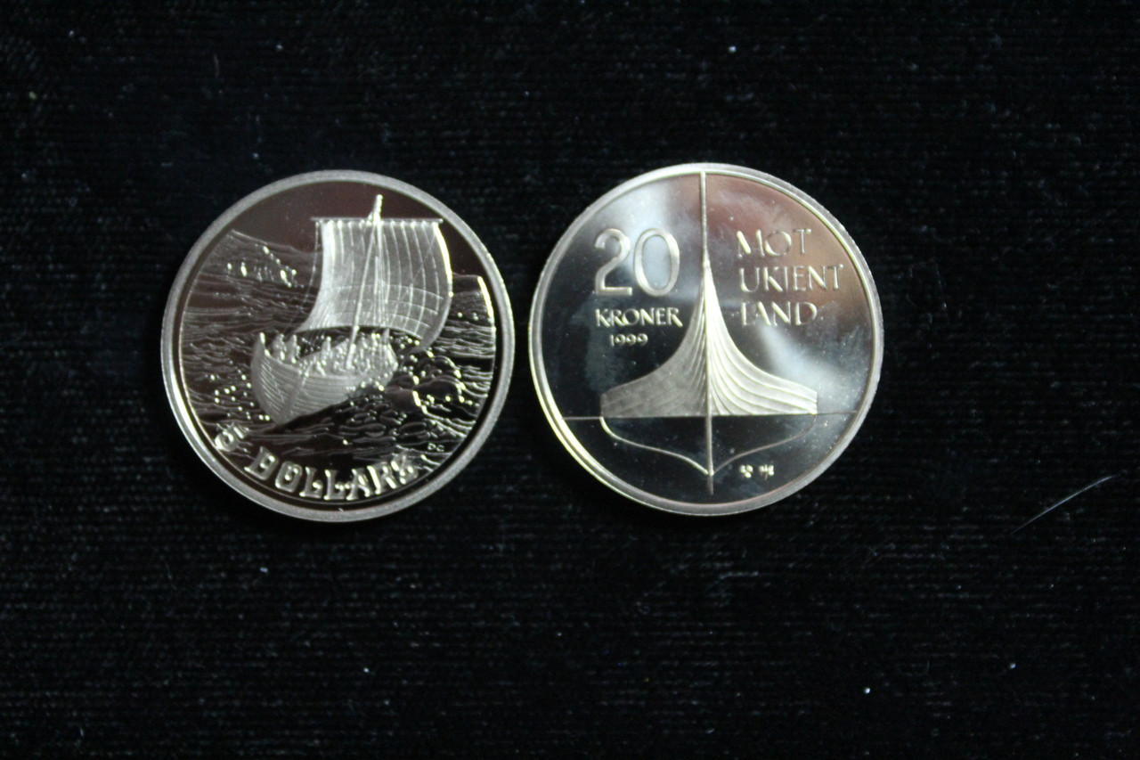 1999 Canada 2 Coin Viking Set 5 Dollars 20 Kroner
