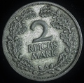 1925 A 2 MARK 2ND REICH WEIMAR REPUBLIC GERMANY EXTRA FINE