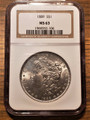 1889 MS63 $1 dollar silver coin