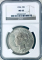 1924 PEACE SILVER  DOLLAR NGC MS65