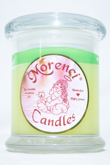 Fragrant Sweet Pea Blossoms with hints of jasmine, violet, and lily of the valley on a light background of vanilla musk. BATH AND BODY TYPE. (Color-Soft Yellow with a Bright Green Crown)