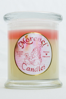 An invitingly warm, luscious but sensual creamy scent.  Rich velvety sweet cream blended with a heavily buttered vanilla brulee. (Color-Eggshell White Kissed with a Pastel Pink Crown)