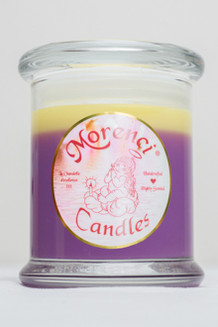 A bright mixture of Mango, Papaya, Kiwi and Guava with a dollop of chewy candy confection. Envision the way jelly beans taste.  (Color-Purple Jewel tone  with a Yellow Crown)