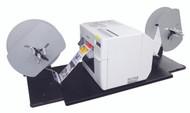 Epson TM-C3500 color label printer connected to junction plate, label rewinder and label unwinder.