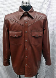 Leather shirt custom style LS016 made to order www.leather-shop.biz front of shirt picture