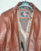 Mens lambskin leather shirt LS060 dark brown with French Cuffs label pic
