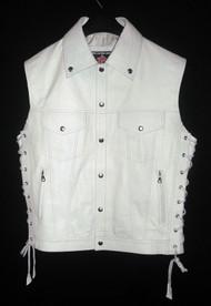 Leather vest with lace side adjustment MLV1310 www.leather-shop.biz front pic