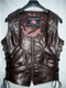 Custom Made Leather Vest Style WLV1204 dark brown front pic