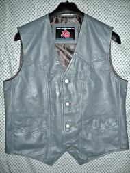 Leather vest style MLV720 Gray WWW.LEATHER-SHOP.BIZ front 2 pic