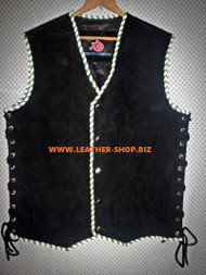 Suede Leather Vest Braided Biker Style MLV840B 8 Colors Available