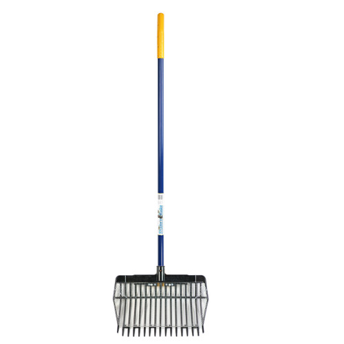 """Sand Rake.  Shake'n Rake with the screened basket showing 1/4"""" mesh.  Used for sifting fine debris from beach or other sand."""