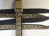 "NIELS Designer Dog Collar & Lead. Gold and Black. 11""-15"""