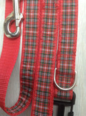 "Sancho I Designer Dog Collar & Lead. Plaid. 11""-15"""
